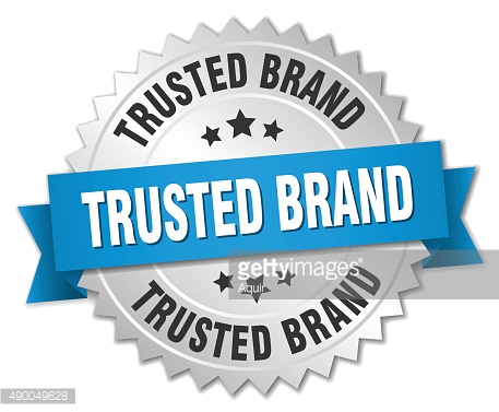 trusted brand 3d silver badge with blue ribbon
