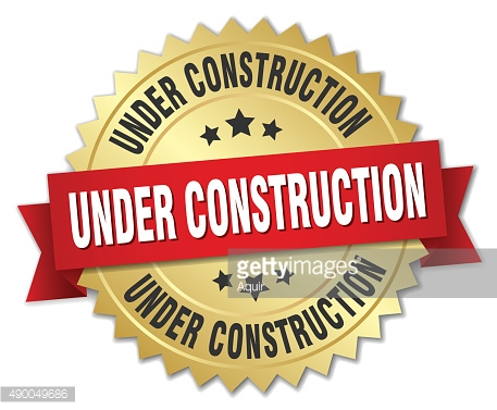 under construction 3d gold badge with red ribbon