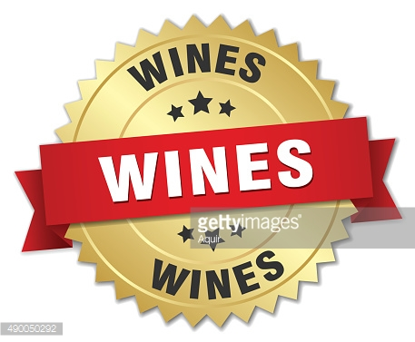 wines 3d gold badge with red ribbon