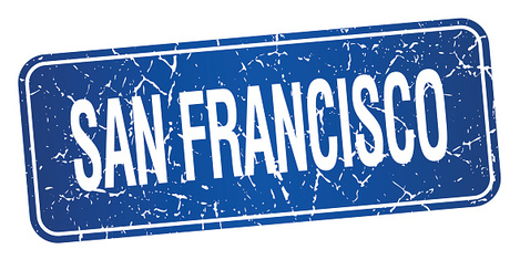 San Francisco blue stamp isolated on white background