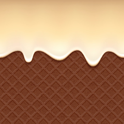 Chocolate wafer and flowing vanilla cream - vector background