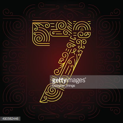 Vector Gold Mono Line style Geometric Font. Number 7