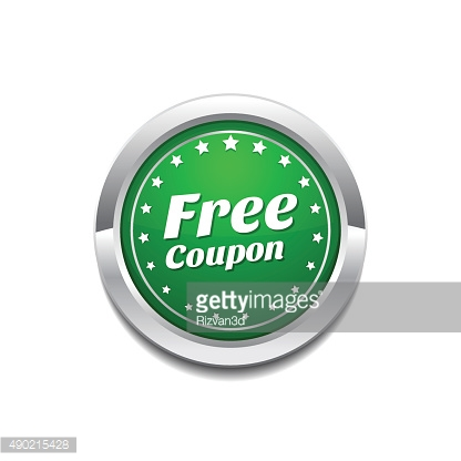 Free Coupen Green Vector Icon Button