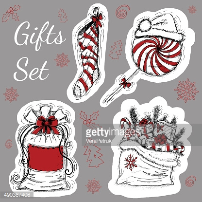 Christmas set with gifts and decorations