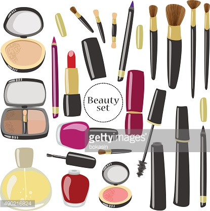 Vector makeup and beauty products set.