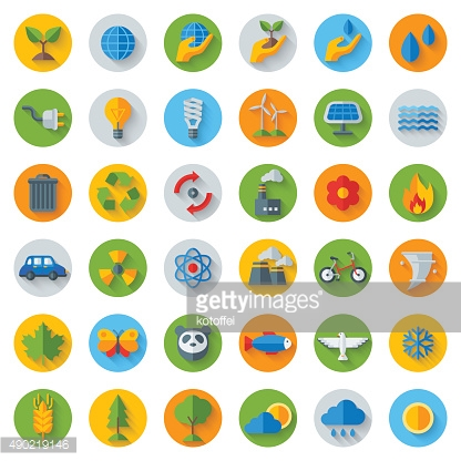 Ecology Flat Icons on Circles with Shadow.