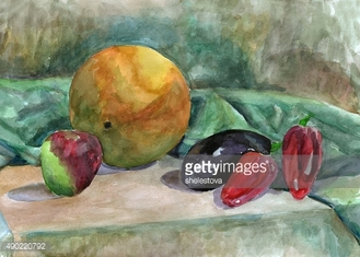 Still Life with melon, watercolor