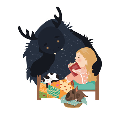 Little girl reading fairy tales to the monster