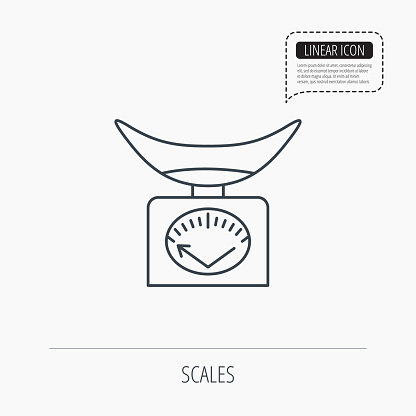 Scales icon. Kitchen weighing tool sign.