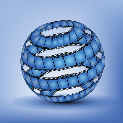 Abstract Sphere From Blank Film Strip isolated on blue background