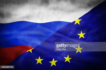 Russia and European Union mixed flag.