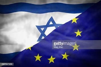 Israel and European Union mixed flag.