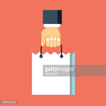 Vector hand with shopping bag icon