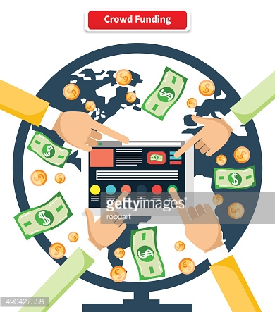 Concept Crowd Funding Banknotes and Coins
