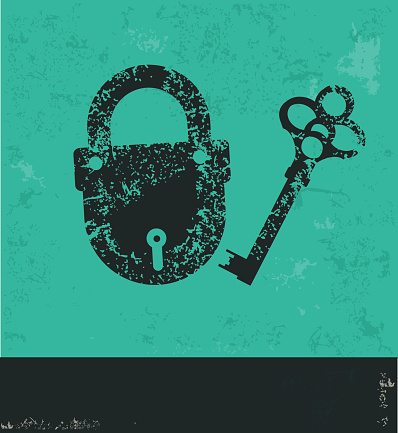 Lock design on old background,vector