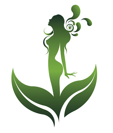 green shape of beautiful woman icon cosmetic and spa