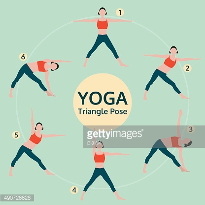 triangle pose, yoga set illustration, yoga exercise vector
