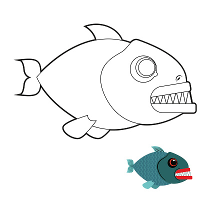 Piranha coloring book. Terrible sea fish with large teeth. Angr