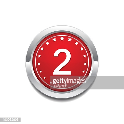 2 Number Circular Vector Red Web Icon Button