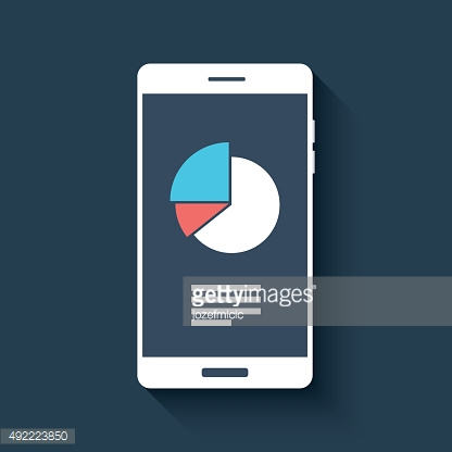 Smartphone with business graphs and charts symbol. Isolated mobile phone