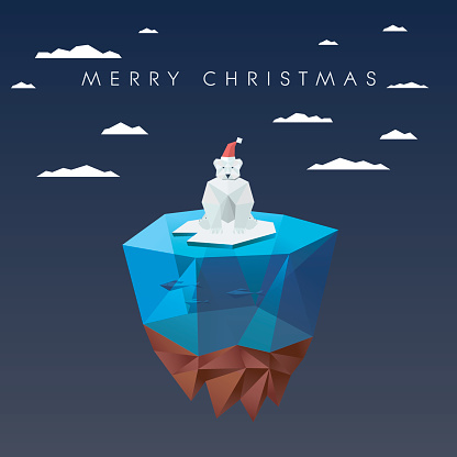 Christmas card template with polar bear in low poly design