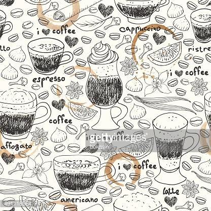 Hand drawn doodle coffee cups and stains seamless pattern