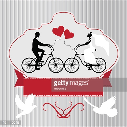 Vintage wedding frame with bicycle and pegions