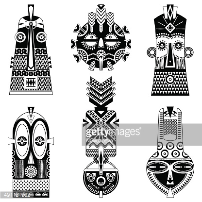 Set of african masks of different shapes.
