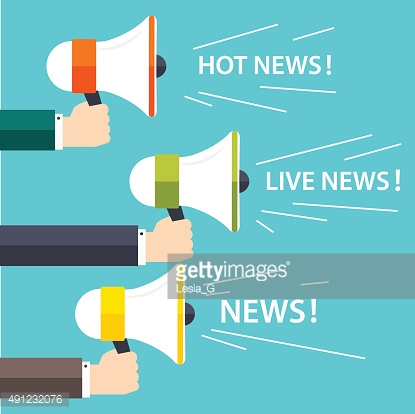 People holding a megaphone with a message. Business flat vector