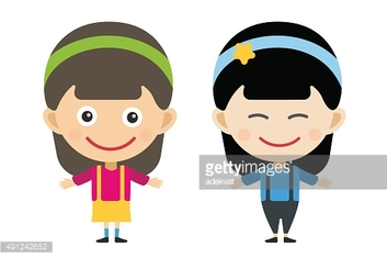 Japanese and indian cartoon vector girls in different costumes