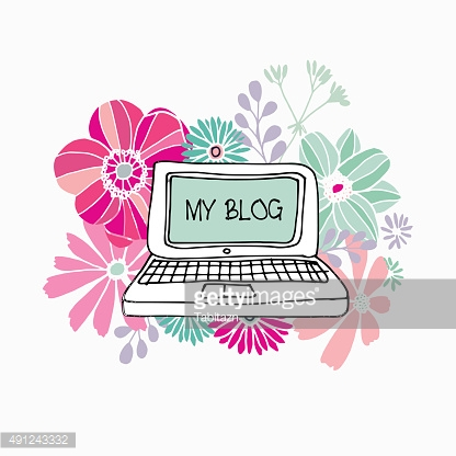 Floral print with laptop and various hand drawn flowers, vector