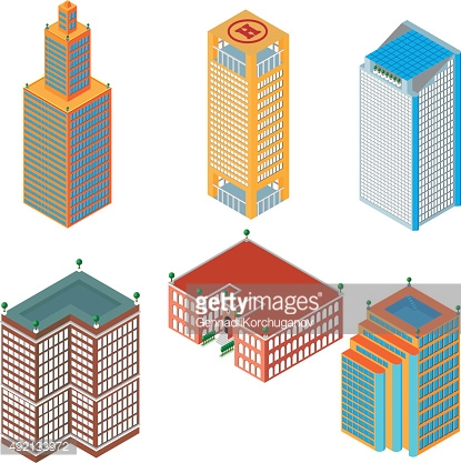 flat 3d isometric set of colored skyscrapers, buildings, school.  Isolated
