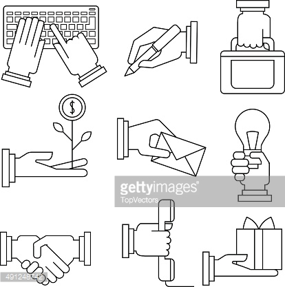 Business Icons Set With Hands in Linear Style
