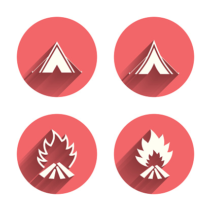 Tourist camping tent signs. Fire flame icons