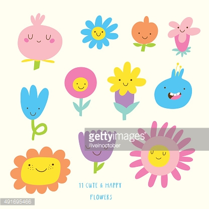 Cute vector set of FLOWERS icons.