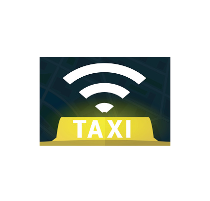 Yellow taxi wireless symbol with light shine