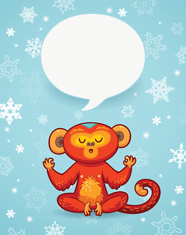 Winter holiday background with cartoon monkey and space for text