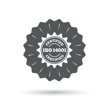 ISO 14001 certified sign. Certification stamp