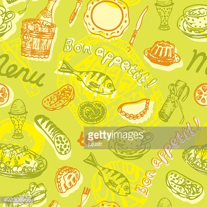 Food seamless pattern in bright colors – Illustration
