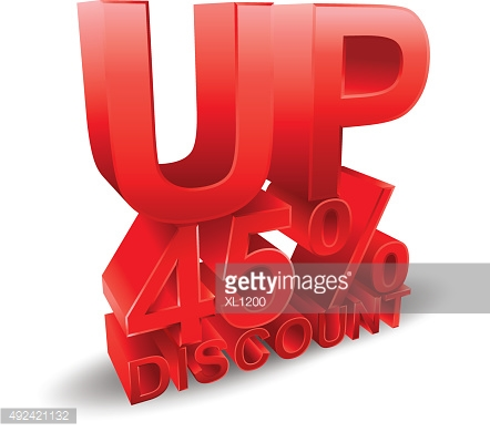 45 percent discount on white background