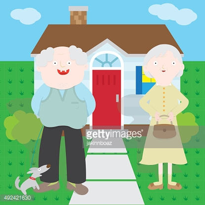 Old couple in front of the house
