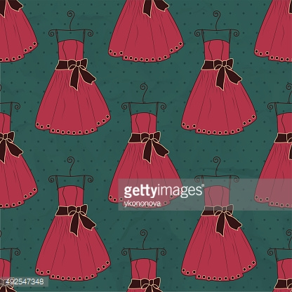 Seamless pattern dress on a blue background with polka dots
