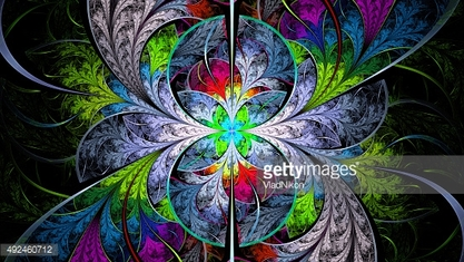 Extraordinarily beautiful colorful stained glass. Leaves are fabulous plants.