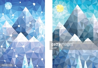 Snow mountain landscapes in day and night versions – Illustration