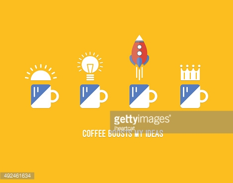Coffee and creativity flat icons concept set