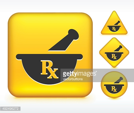Pharmaceutical RX on Yellow Buttons