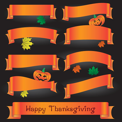 orange various curved ribbons for happy thanksgiving eps10