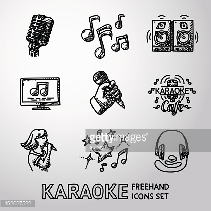 Set of karaoke singing freehand icons - microphone, notes, loudspeakers
