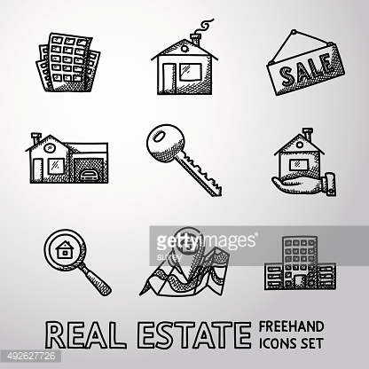 Set of freehand REAL ESTATE icons - landscape, sale tag