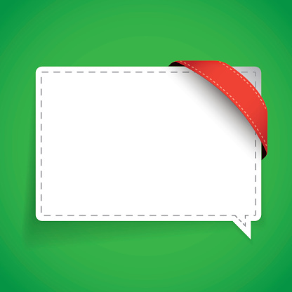 Speech bubble with corner ribbon vector